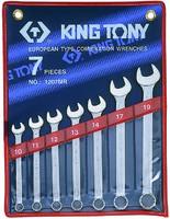 Набор рожково-накидных (комбинированных) ключей 7ед. (10-19) KING TONY