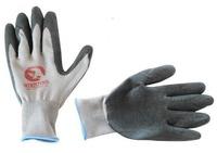 Перчатки серые вязанные синтетические с рефленным латексом на ладони Intertool SP-0121, 10-й размер