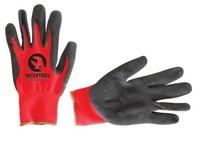 Перчатки красные вязанные синтетические с нитрилом на ладони Intertool SP-0127, 10-й размер