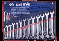 Набор рожково-накидных (комбинированных) ключей 16ед. (дюймовые) KING TONY